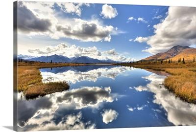 Cloud reflections on Knob Lake along Alascom Road, Southcentral Alaska