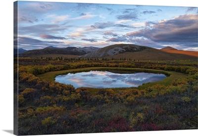 Cloudy Blue Sky Reflected In A Pond, Dempster Highway, Dawson City, Yukon, Canada