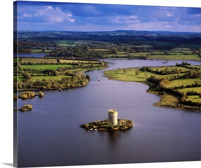 Cloughoughter Castle, County Cavan, Ireland, Aerial View Of Lough Oughter