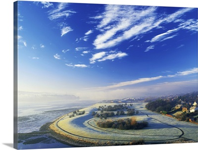 Co Derry, Ireland; High Angle View Of Winter Frost And Fog Over A Landscape