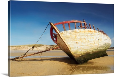 Co Donegal, Ireland; Marooned Boat