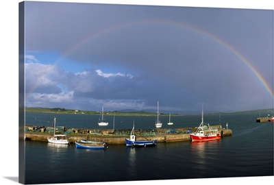 Co Galway, Roundstone Harbour, With Rainbow