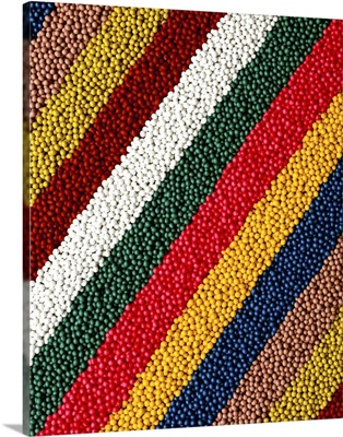 Coated vegetable seeds in rows