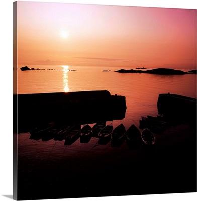 Coliemore Harbour, Co Dublin, Ireland; Sunrise Over A Harbour