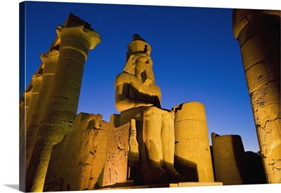 Colonnade Of Amenophis Iii With Statue Of Ramses Ii At Dusk; Luxor Temple, Egypt