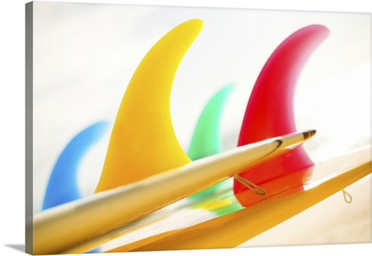 Colorful Surfboards Fins, Bright Sunny Sky In Background Wall Art ...