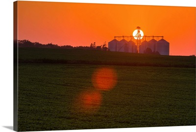 Commercial grain storage facility in central Iowa with a green soybean field