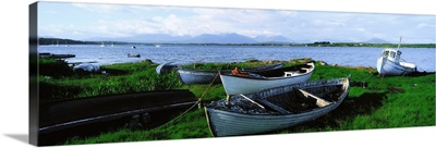 Connemara, Co Galway, Ireland, Boats Near The Water