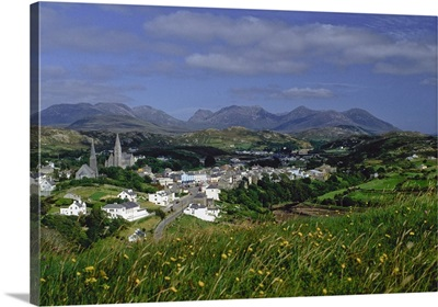 Connemara, Co Galway, Ireland; High Angle View Of Village