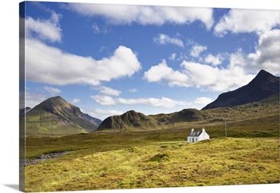 Cottage On Heather Moorland, Cuillin Hills, Isle Of Skye, Inner Hebrides, Scotland