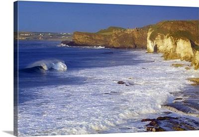 County Antrim, Ireland; Seascape With Cliffs