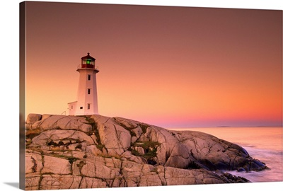 Dawn At Peggys Cove Lighthouse, Halifax County, Nova Scotia, Canada