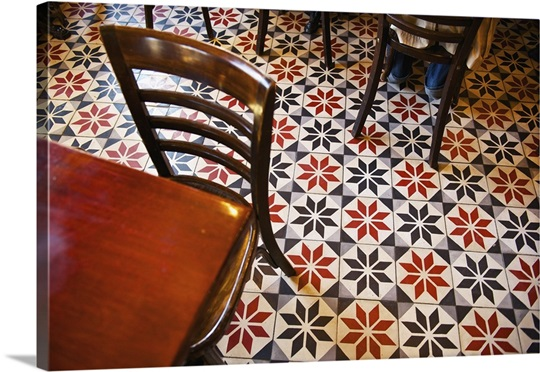 Decorative Black And White Pattern On The Flooring Of A Restaurant Paris France