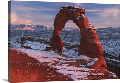 Delicate Arch At Sunset In Winter In Arches National Park; Utah
