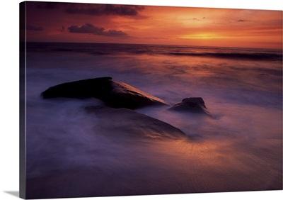 Derrynane Bay, County Kerry, Ireland, Seascape At Sunset