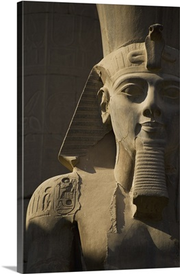 Detail Of Head Of Pharaoh Statue; Luxor Temple, Egypt