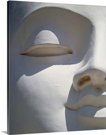 Detail Of The Face Of A White Buddha; Sri Lanka, Asia