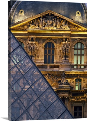 Detail Of The Glass Pyramid Outside The Louvre Museum At Dusk; Paris, France