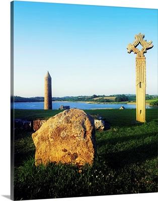 Devenish Island, Ireland, High Cross And 12th Century Round Tower
