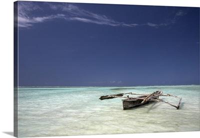 Dhow In Shallow Water, Zanzibar, Tanzania