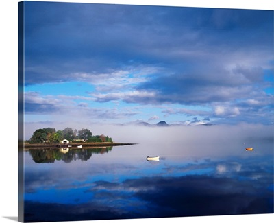 Dinish Island, Kenmare Bay, County Kerry, Ireland; River Scenic With Boats