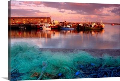 Docked Boats And Fishing Nets, Kilronan Pier, Inishmore, Aran Islands, Ireland