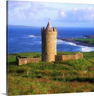 Doonagore Castle, Co Clare, Ireland, Tower House Overlooking The Atlantic Ocean