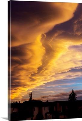 Dramatic colourful clouds at sunset, Calgary, Alberta, Canada