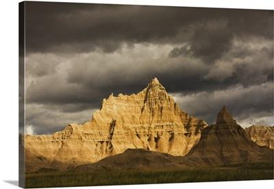 Dramatic light during a storm in Badlands National Park, South Dakota