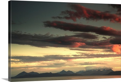 Dramatic sky at sunset over the ocean, Skye, Scotland