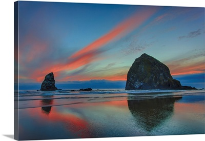 Dramatic Sunset Light In Clouds, Cannon Beach, Oregon