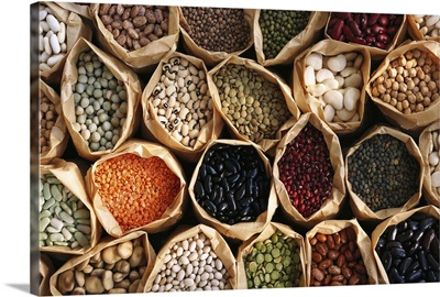 Dry beans, peas, and lentils in bags