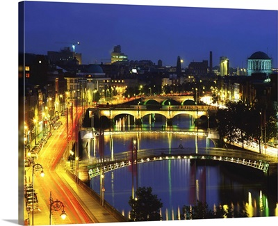 Dublin, Co Dublin, Ireland; View Of The River Liffey At Nighttime