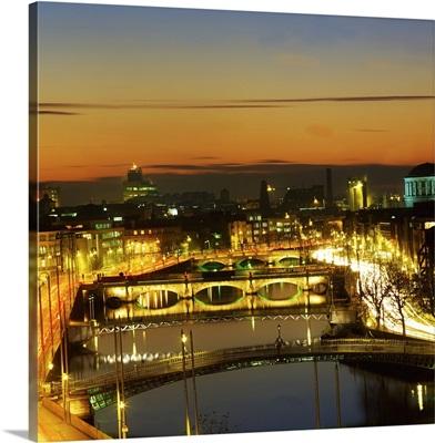 Dublin,Co Dublin,Ireland;View Of The River Liffey At Nighttime