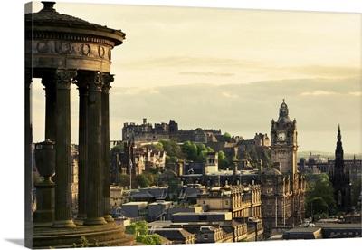 Dugald Stewart Monument, Edinburgh Castle, Balmoral Hotel And Scott Monument, Scotland