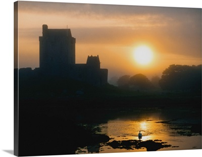 Dunguaire Castle, Kinvara, Ireland, Silhouette Of A Castle At Sunset