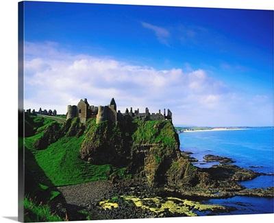 Dunluce Castle, Co Antrim, Irish, Castle On A Basalt Outcropping By The Atlantic