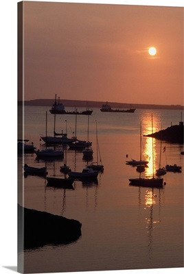 Dunmore East, County Waterford, Ireland, Sailboats On The Harbour At Sunset