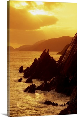 Dunmore Head, Dingle Peninsula, County Kerry, Ireland; Sunset And Cliffs