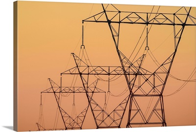 Electrical transmission towers at sunset, Ohio