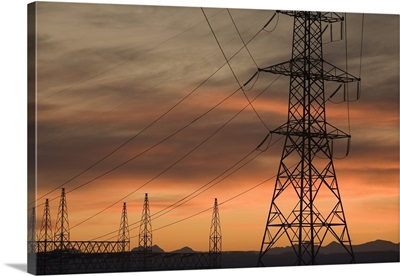 Electricity Towers And Wires At Sunset, Calgary, Alberta, Canada