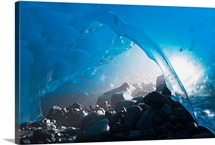 Entrance Of An Ice Cave In Mendenhall Glacier, Juneau, Southeast Alaska