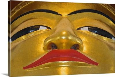 Face Of Golden Buddha In Bagan Temple, Myanmar (Burma)