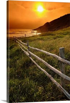 Fence And Sunset, Avalon Peninsula, Newfoundland, Canada