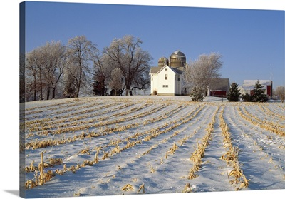Field of corn stubble covered by snow with farm house, barns and silos