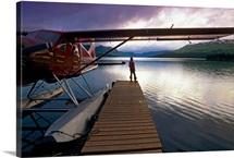 Fisherman Chelatna Lake Lodge Floatplane Docked Alaska Range Interior Summer Scenic