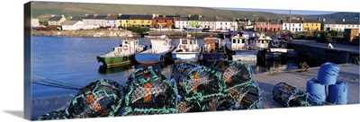 Fishing Boat Moored At A Portmagee Harbor, Ring Of Kerry, County Kerry, Ireland