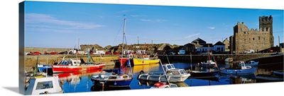 Fishing Boats At A Harbor, Slade Castle, Slade, County Wexford, Republic Of Ireland