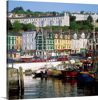 Fishing Boats Moored At A Harbor, Cobh, County Cork, Republic Of Ireland