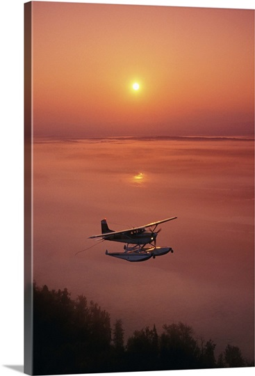 Floatplane Flying at Sunset  Matanuska Valley, Southcentral, Alaska